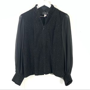 Alex Evenings Black Sequin Puff Sleeves Blouse